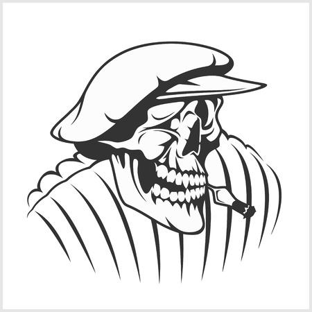 ballad: Russian farmer - skull and symbols on white Illustration