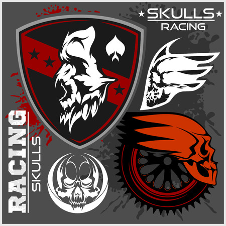 engine pistons: Skulls and car racing symbols on dark background Illustration