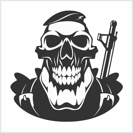automatic: skull - face of military man with automatic gun