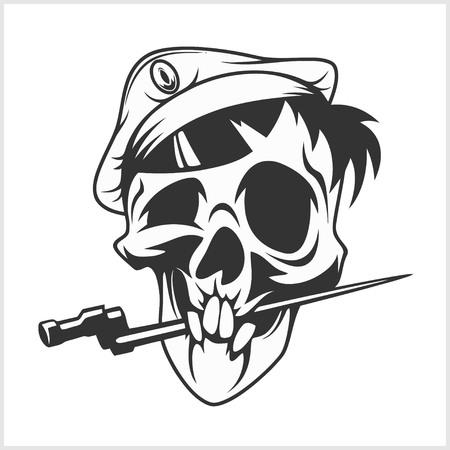 dagger: military skull bite a dagger on white