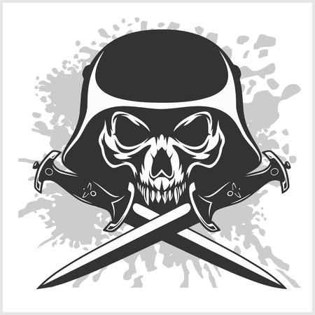 Cráneo con el casco y espadas cruzadas en blanco