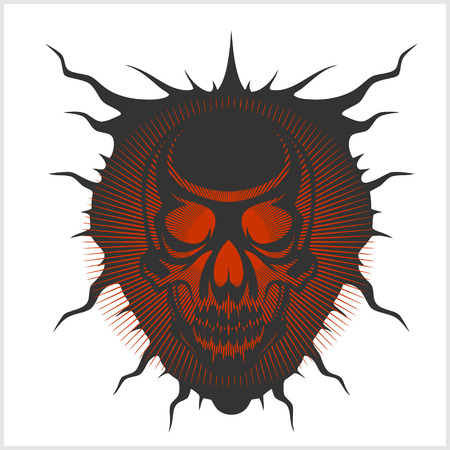 death metal: Horned skull for tattoo - isolated on white