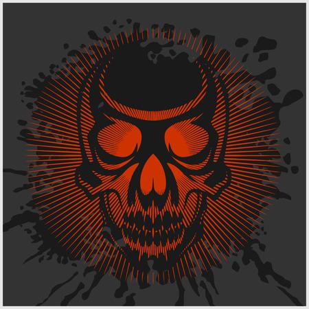 throttle: aggressive skull for motocross helmet on dark background
