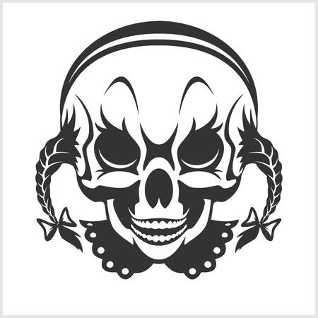vector skull danger sign: girl clown skull isolated on white background Illustration