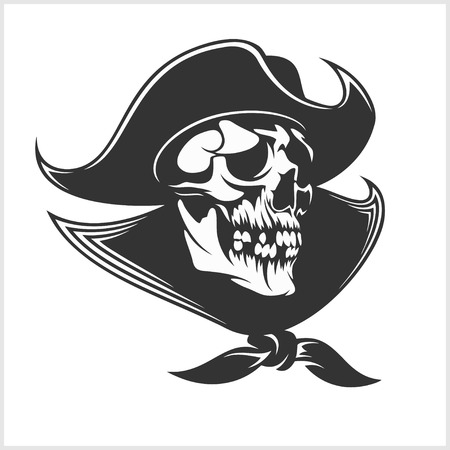 carribean: Jolly Roger with eyepatch logo template. Dark t-shirt design. Pirate insignia concept.