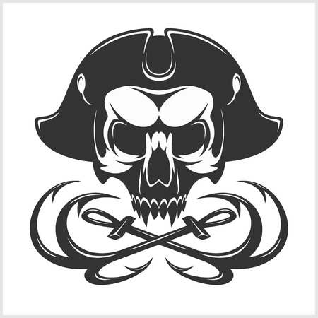 roger: Jolly Roger with eyepatch logo template. Dark t-shirt design. Pirate insignia concept.