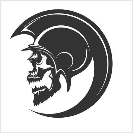 ancient civilization: Spartan Skull and Helmet silhouette, Greek warrior - Gladiator, legionnaire heroic soldier. vector Illustration