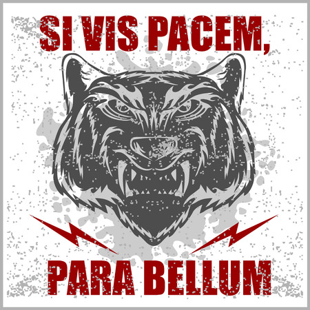 translated: Monochrome Latin quotation Si vis pacem para bellum by Vegetius translated as if you want peace prepare for war Illustration