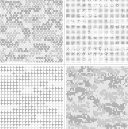 Seamless vector digital Pixel Camouflage collection - Urban, Desert, Jungle, Snow camo vector set 矢量图片