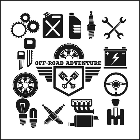 offroad: off-road adventure and car parts icon vector set