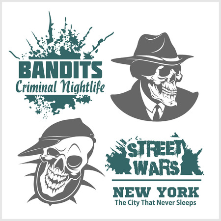 battle evil: Set of gangser and bandits emblems, labels, badges. Monochrome graphic style