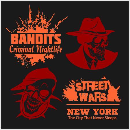 bandits: Set of gangser and bandits emblems, labels, badges. Monochrome graphic style