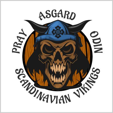 Skull wearing a viking helmet - vector emblem