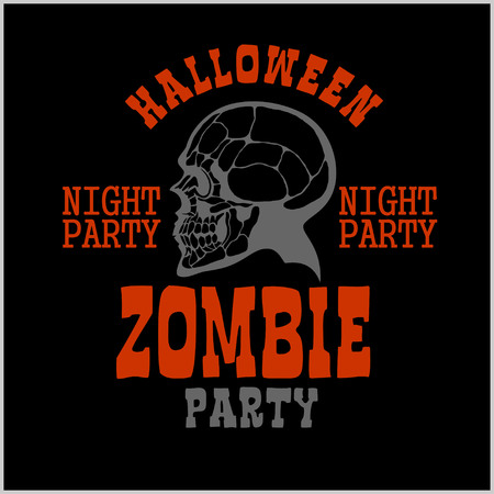 Halloween party poster with zombie head and silhouettes - vector illustration