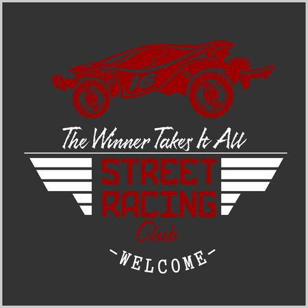 Street Racing club badge and design elements. Vector illustration in Monochrome style. Illustration