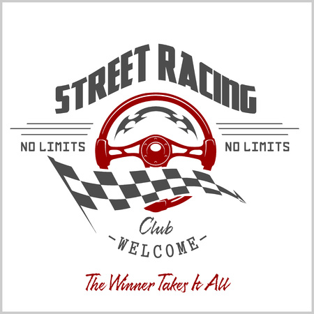 Street Racing club badge and design elements. Vector illustration in Monochrome style. Vektorové ilustrace