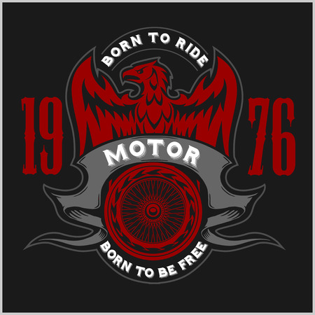 custom letters: American Eagle Motorcycle Club Emblem.Vintage typography design for biker club,custom shop,t-shirts,prints.