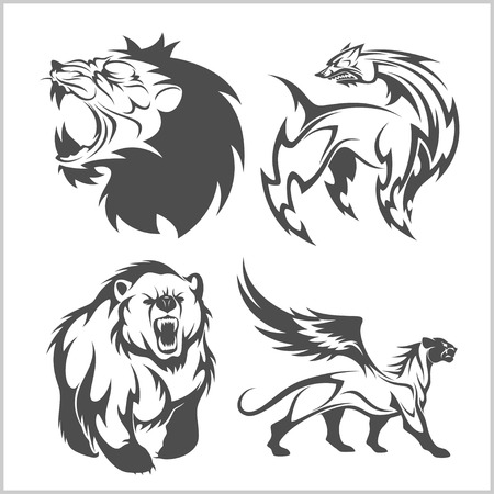 Lion head, griffin fyl bear tattoos and designs on tribal style. Stock Illustratie