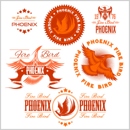 yelow: Phoenix - fire birds and flames . Vector set of abstract concepts, design and emblems on white background. Illustration