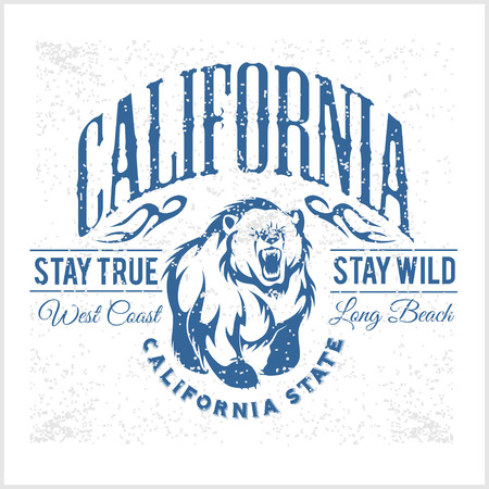 apparel: California Republic vintage typography with a grizzly Bear, t-shirt print graphics