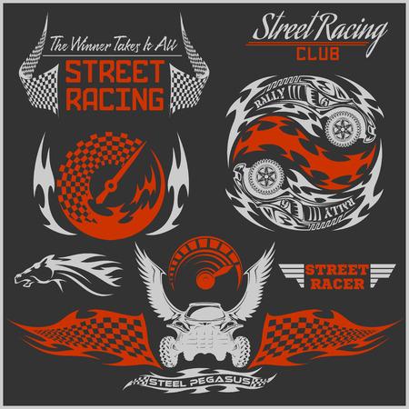 sports club: Sports car club emblems, labels and badges set on dark background.
