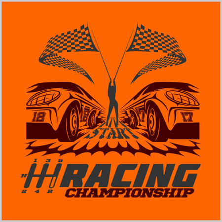 hotrod: Car racing emblems and championship race badges