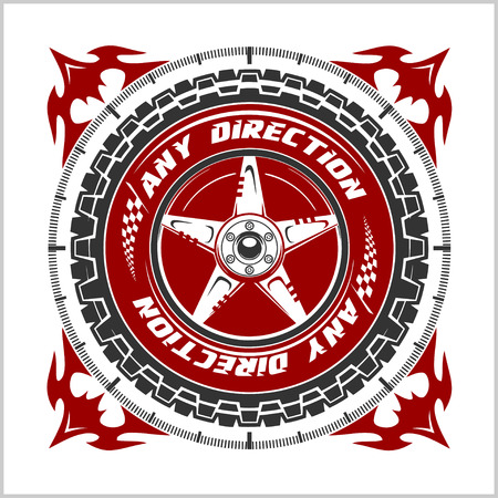 racing emblem: Racing Championship emblem - Auto racing emblem on light background. Illustration