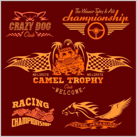 racing emblem: Sports racing emblem - Racing design set.