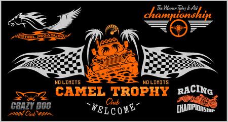 emblem racing: Sports racing emblem - Racing design set.