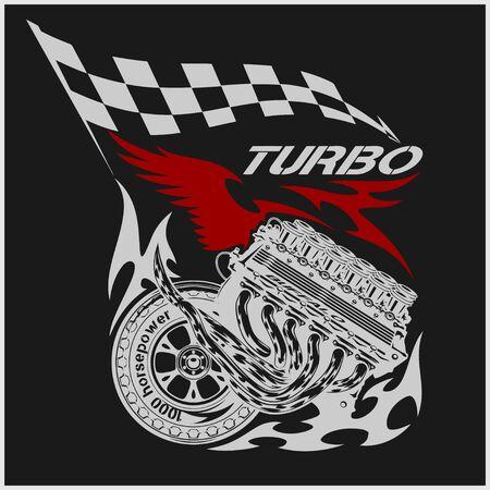 old school bike: Vintage Engine Checkered Flags Racing