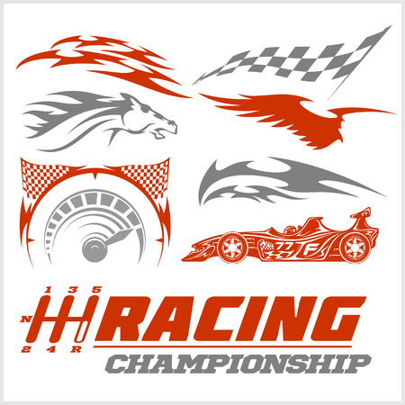 racing: Set of racing stickers on white background