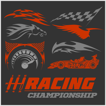 Set of racing stickers on dark background