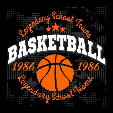 Basketball championship set and design elements on dark background Illustration