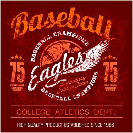 Vintage baseball emblem, badge and design elements. Vector illustration on dark background Illustration