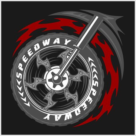 moto: Moto wheel Vector Emblem Symbol inside wheel and tribal Illustration