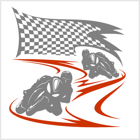 Motorcycle racing on the racetrack and checkered flag. White background.