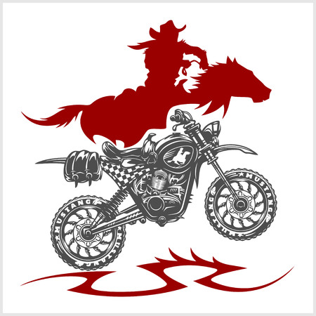 Motocross Moto and Horse - emblem on white background