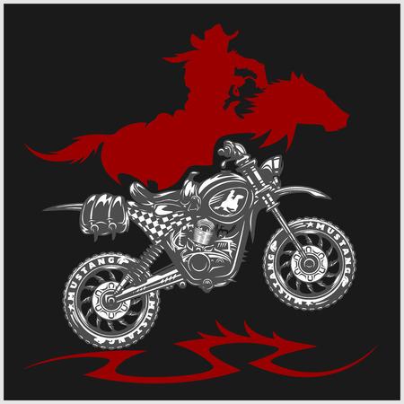 thrilling: Motocross Moto and Horse - emblem on black background