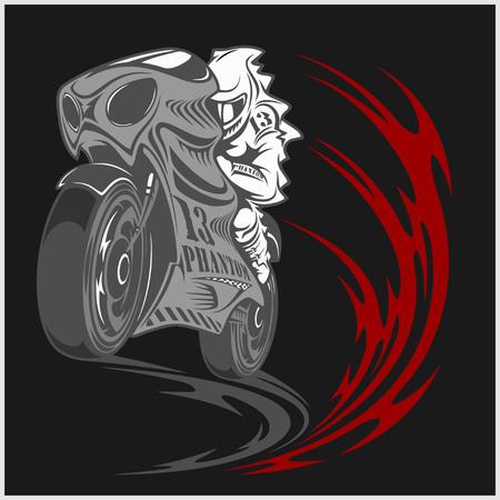 Motorcycle racer sport and tribal design on black background Illustration