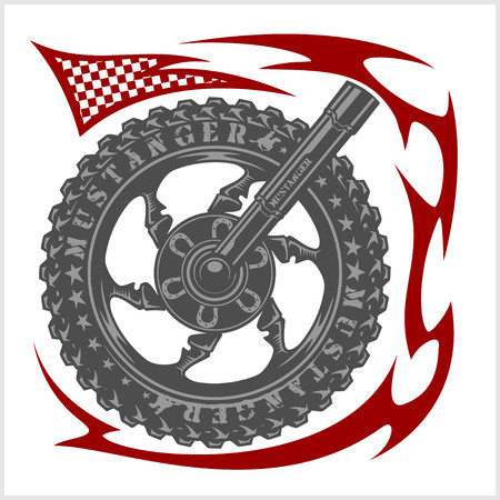 moto: Moto wheel Emblem Symbol inside wheel and tribal