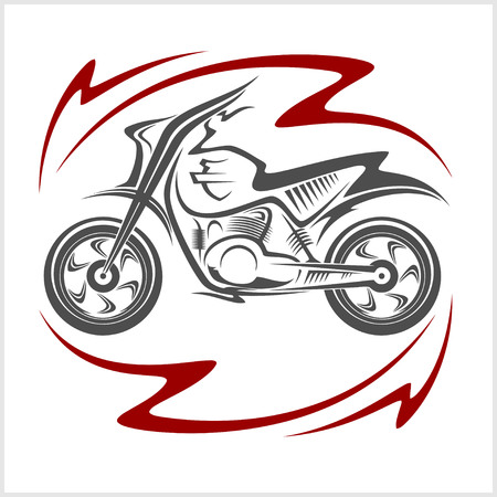 Motorcycle Elements and flame on white background Illustration