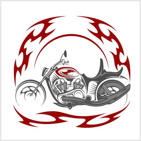 big shirt: Flaming Bike - Retro Chopper and tribal flame on white background