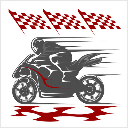 racing: Motorcycle racing on the racetrack and checkered flag. White background.