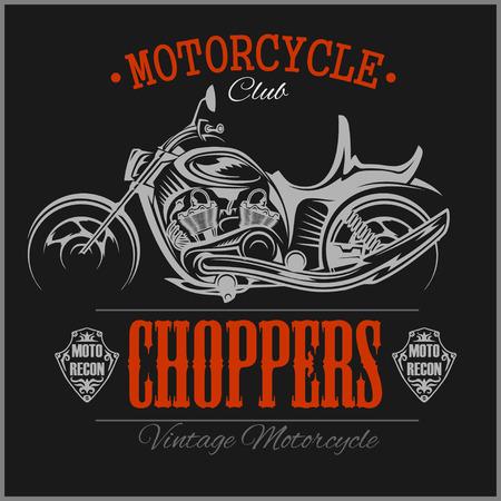 Motorcycle Chopper logo. Chopper sign. Motorcycle logo. Chopper garage logotype. Vector vintage biker Chopper motorcycle logo. Motorbike. Custom motorcycle illustration cafe racer hand drawn vector