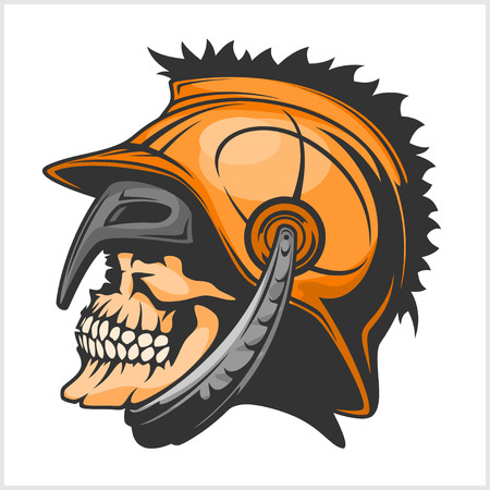 antiques: Old Vintage Antiques Skull Spartan warrior vector design template