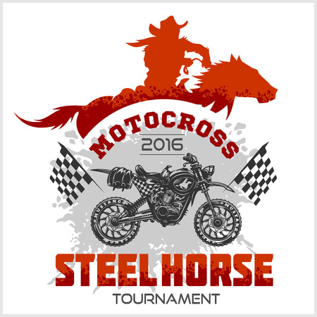 moto: Motocross Tournament emblem moto and horse for t-shirts on white background Illustration