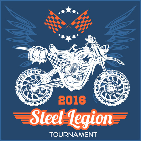 stunt: Motocross Tournament emblem for t-shirts on dark background Illustration