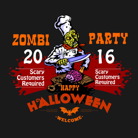 intertainment: Halloween Party Design template with zombie and place for text on black background Illustration