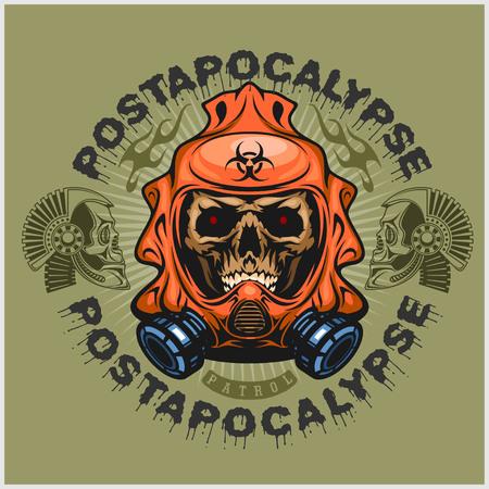 industriales, capa post-apocalipsis de armas con el cráneo, diseño grunge.vintage camisetas sobre fondo claro
