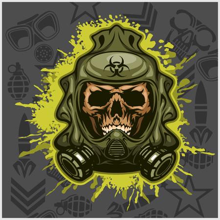 incubus: Biohazard - skull mask, virus infection. Isolated on white
